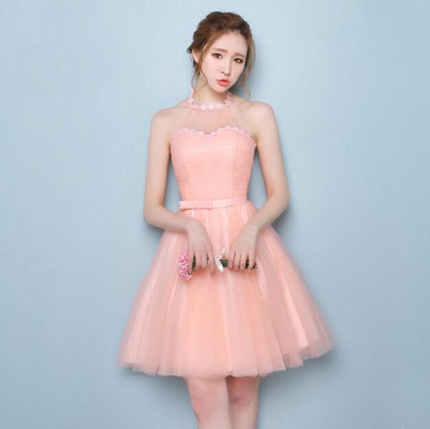 robe de soire peach women halter dress bridesmaid short cheap party dresses for teens wedding