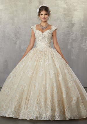mori lee lace quinceanera gown with detachable sleeves 01 341