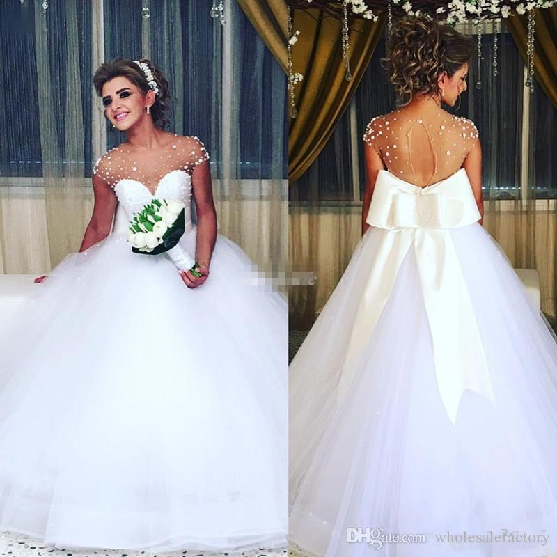 wedding gowns cheap awesome romantic white beaded sheer cap sleeves jewel neck wedding dresses