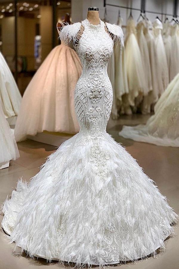 Latest Design Luxury Mermaid y Long Train Vestido De Novia wedding dress ball gown