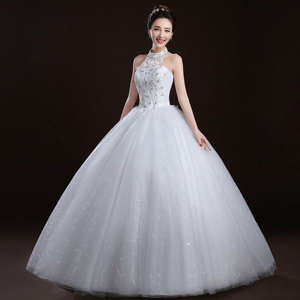 Wedding Dresses Halter Luxury Halter Neck Ball Gown Wedding Dress with Lace Appliques 2017 New Tulle Wedding Gowns Lace Up Bridal Gowns Line Bridal Party Dresses From