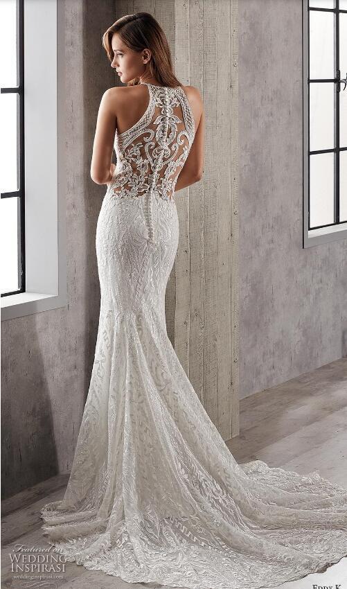 Wedding Dresses Halter top Inspirational Full Lace Mermaid Wedding Dress Eddy K 2019 Halter Neck buttons Back Bridal Gowns Sweep Train Wedding Dresses Plus Size Lace Wedding Dress Lace