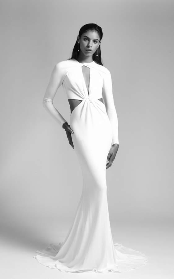 Cushnie Bridal Vanessa Long Sleeved Deep V Gown