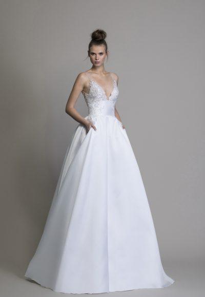 love by pnina tornai a line silk v neck wedding dress 400x580