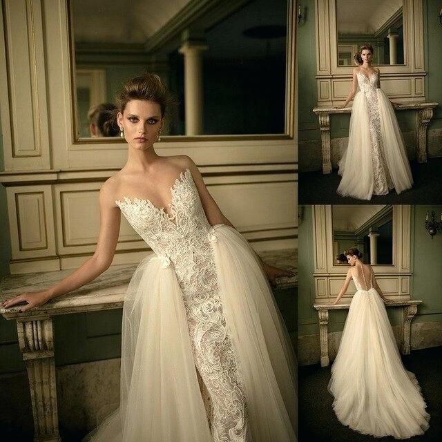 deep v neck lace tulle skirt outside wedding dress two in one piece bridal gown dresses near me under 200