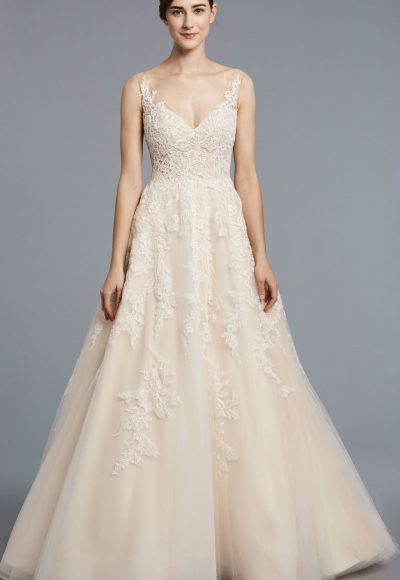 anne barge a line tulle v neck wedding dress 400x580