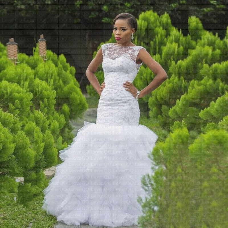 2019 New African Ruffles Mermaid Wedding Dress Custom made Plus Size Backless Bridal Gowns Wedding Dresses