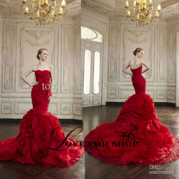 Wedding Dresses Red Fresh Red Wedding Dresses Sweetheart Neckline Tulle Ruffle Bow Sashes Mermaid Chapel Train Bridal Dresses Wh1010 Corset Mermaid Wedding Dresses Designer
