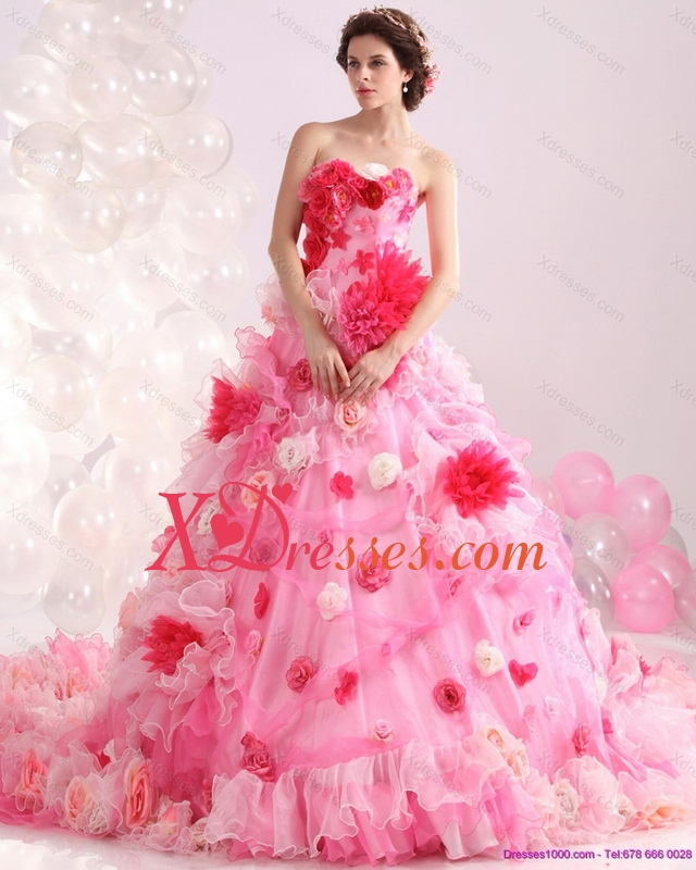 Multi Color Strapless Color Wedding Gown with Hand Made Flower and Chapel Train 290