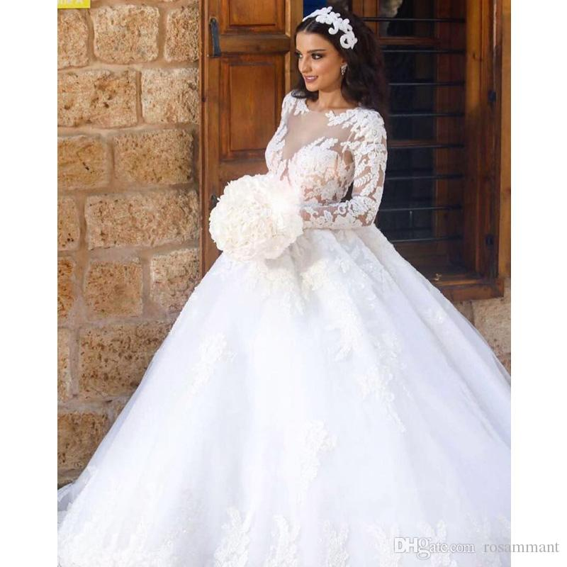 Wedding Dresses Size 10 Best Of 2018 Lace Ball Gown Wedding Dresses Sheer Neck Long Sleeve Appliques Lace Plus Size Wedding Dresses Vestido De Noiva