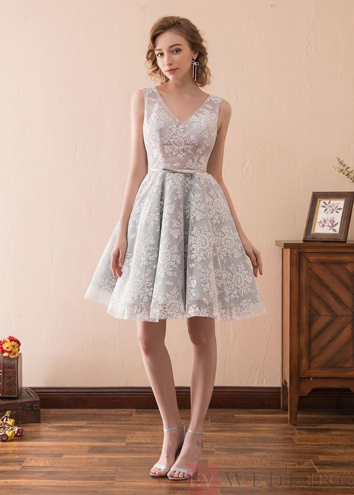 re mended a line knee length v neck lace evening dress od against high neck lace wedding dress design