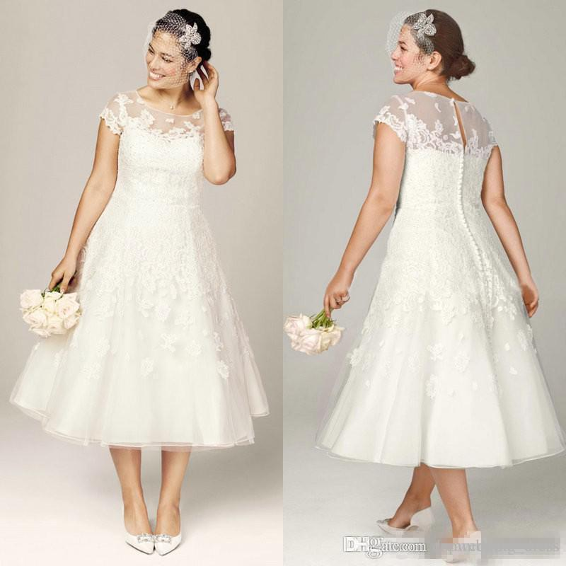 2017 plus size wedding dresses tea length