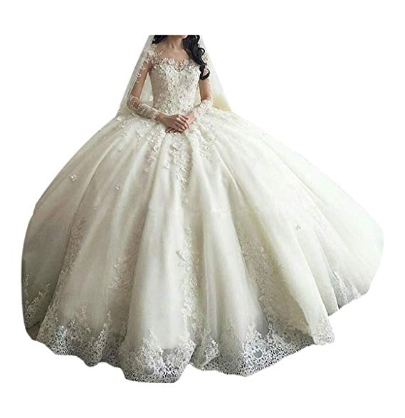 Wedding Dresses Under 150$ Inspirational Tbgirl Women S Long Sleeve Lace Ball Gown Wedding Dresses Cathedral Train