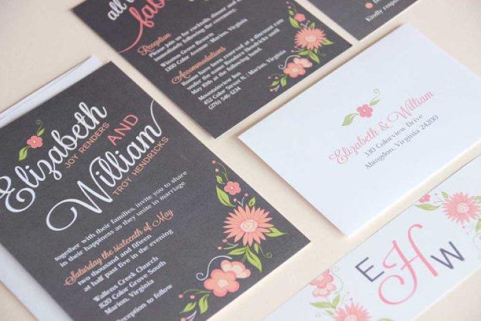 floral print wedding invitations designs black