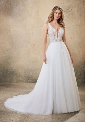 mori lee 6914 raven plunging v neck wedding gown 01 649