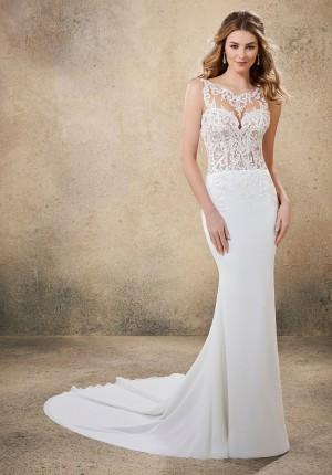 mori lee 6912 rebel illusion neck wedding dress 01 649