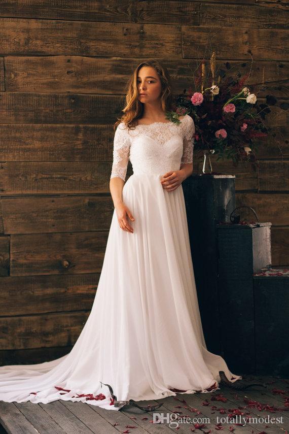 rustic wedding dresses discount 2017 a line boho wedding dresses lace top chiffon skirt latest