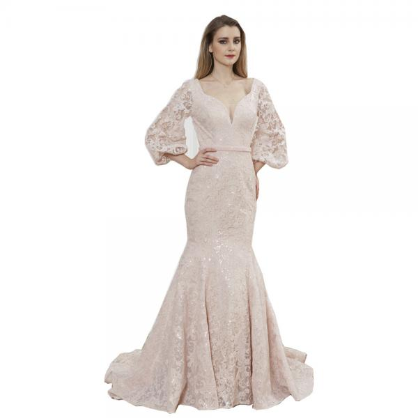 three quarter sleeve women arabic wedding party dresses mermaid style
