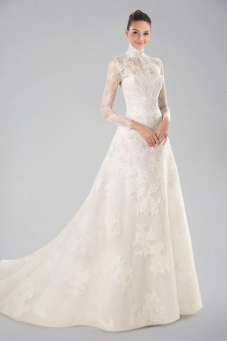 Wedding Dresses with Collar Unique Pin On Long Sleeve High Neck Gowns