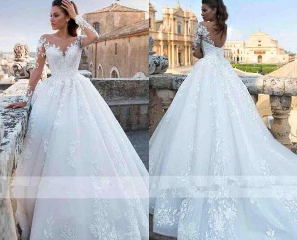 Wedding Dresses with Corsets Unique Discount Romantic Elegant Ivory Full Lace Wedding Dresses 2019 Sheer Neck Long Sleeves A Line Tulle Wedding Bridal Gowns Corset Back Wedding Gowns