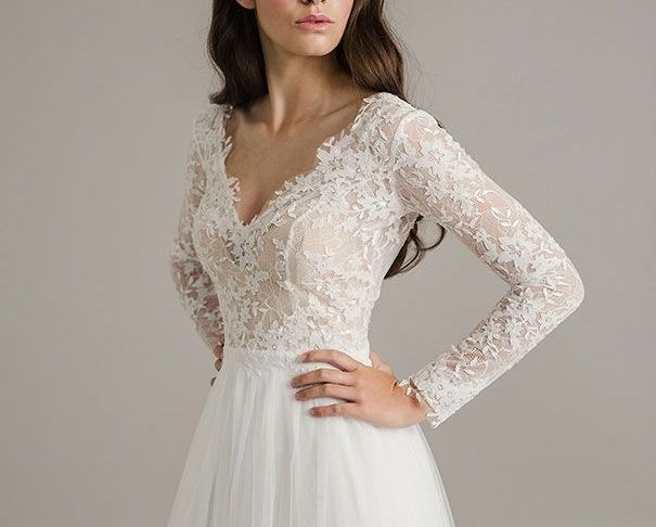 Wedding Dresses with Lace top Unique Long Sleeve Wedding Dresses
