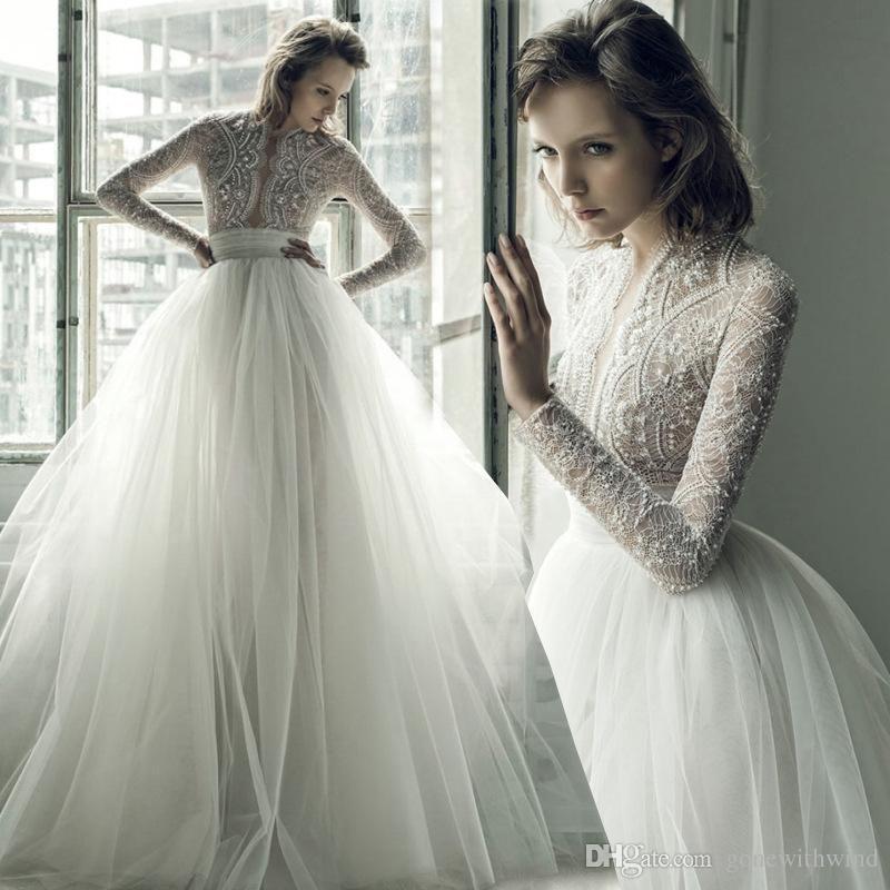 Wedding Dresses with Long Sleeves Luxury Bohemian Wedding Dresses 2017 Ersa atelier Long Sleeves