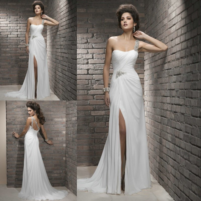 Drop shipping chiffon beaded one shoulder side slit bridal wedding dresses 2013
