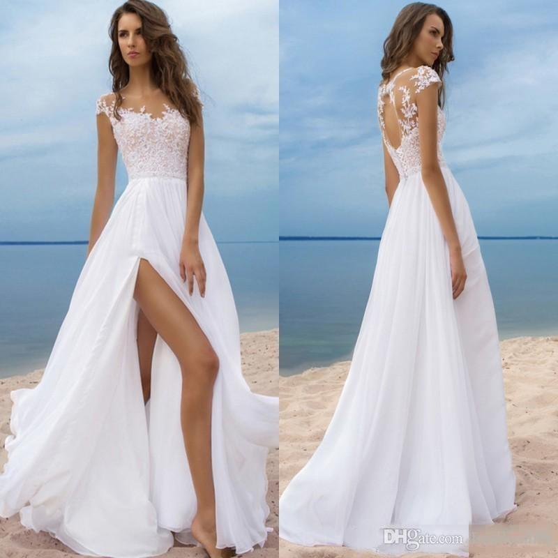 Wedding Dresses with Slits In the Front Beautiful Discount Cheap Beach Wedding Dresses Short Sleeves Chiffon Bridal Gowns High Side Slit Backless Wedding Gowns Sheer Neck Slim A Line Wedding Dress