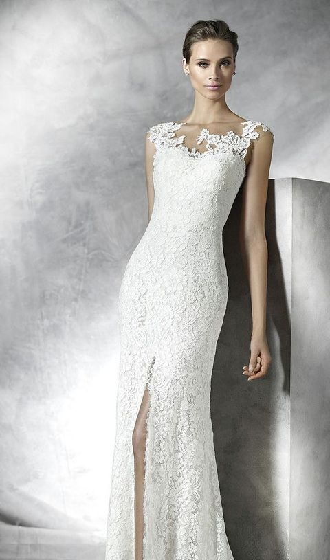 20 lace illusion strap wedding dress with a side slit