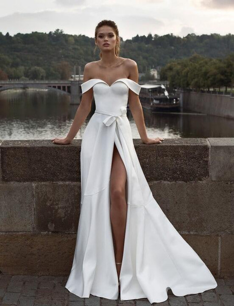Wedding Dresses with Slits In the Front Fresh Discount Helena Kolan A Line Wedding Dresses F the Shoulder Split Sash Plus Size Bridal Gowns Sweep Train Beach Robe De Mariée Wedding Ball Gowns