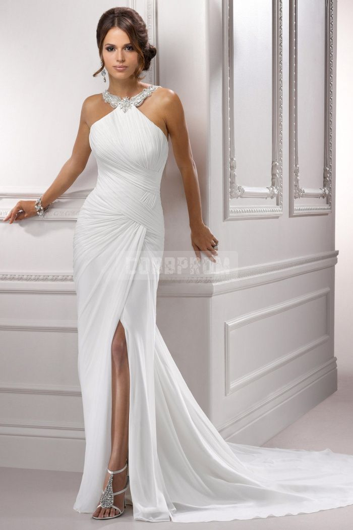 Wedding Dresses with Slits In the Front Lovely Y Column Beading Chiffon Front Split Wedding Dress