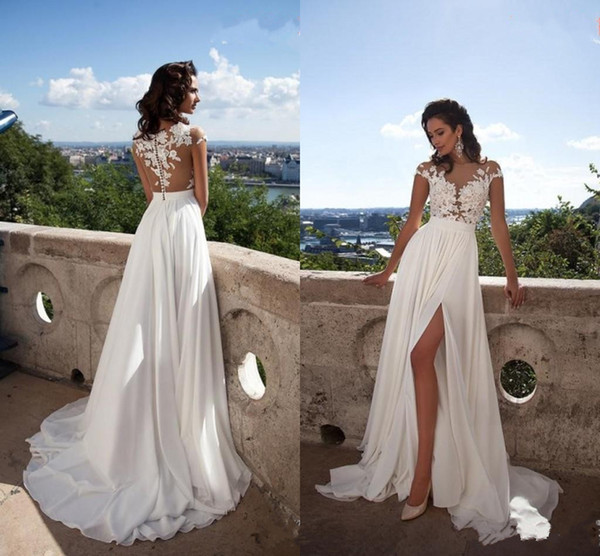 Wedding Dresses with Slits In the Front New Discount 2017 Elegant Chiffon Sheer Neck Lace Appliques A Line Beach Wedding Dresses Cap Sleeves Y Back Front Split Bridal Gowns Custom Made