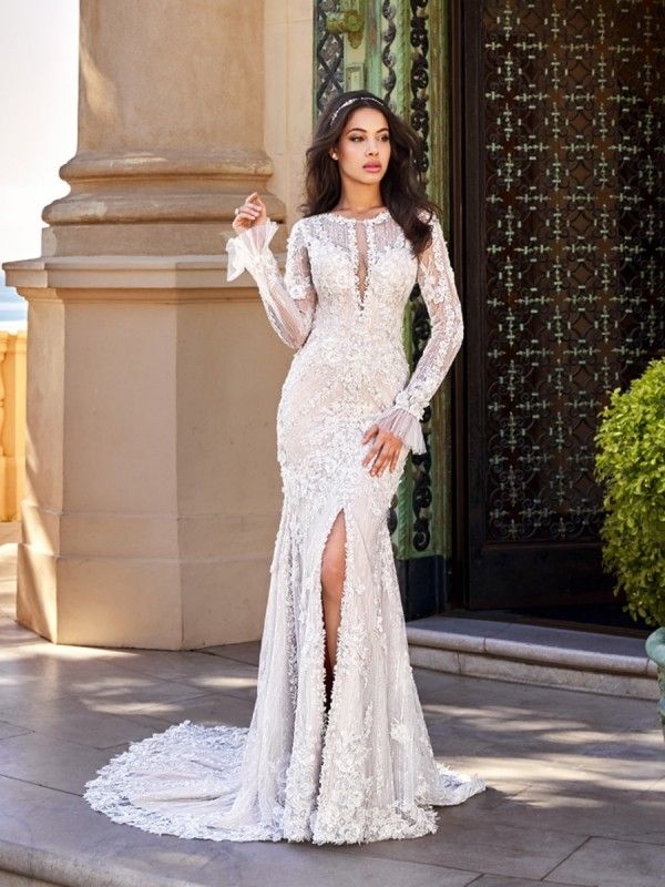 Wedding Dresses with Slits In the Front New Sleeved Mermaid Wedding Dress Val Stefani Gadot D8167