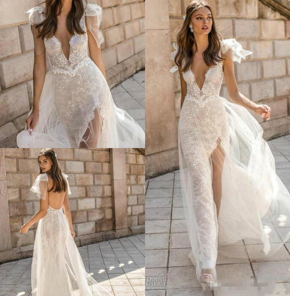 Wedding Dresses with Slits Inspirational Muse by Berta 2019 Wedding Dresses V Neck Lace Backless Mermaid Bridal Gowns High Slit See Through Trumpet Customized Beach Wedding Dress Simple