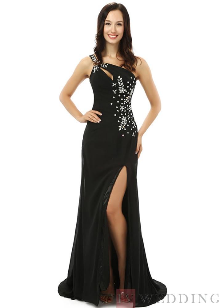 Fascinating Mermaid Floor Length Side Slit e Shoulder Chiffon Evening Dress OD