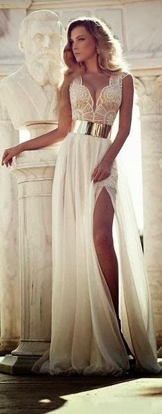 high leg slit belted wedding dress