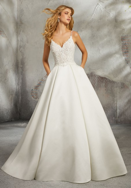 mori lee 8272 luella spaghetti straps wedding dress 01 417