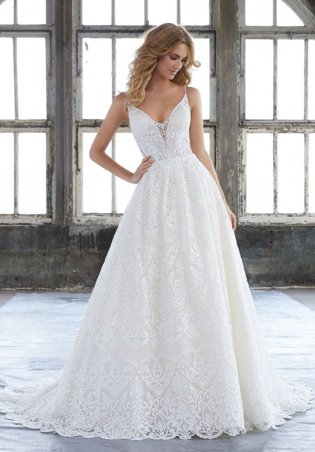 mori lee 8204 kasey spaghetti strap a line wedding gown 01 286