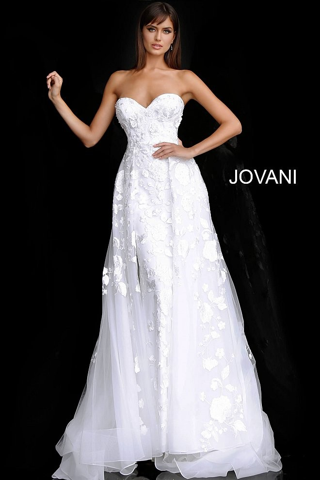 jovani jb strapless sweetheart neck simple wedding gown 01 688