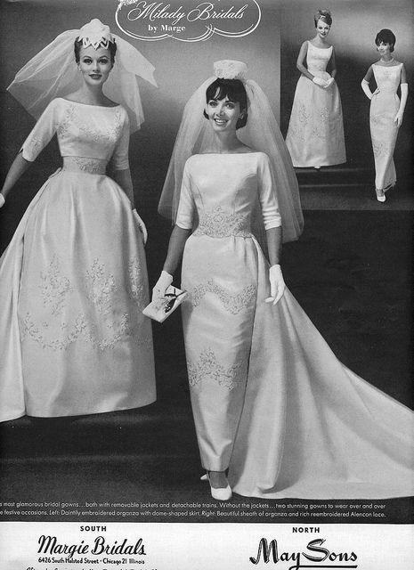 weird wedding dresses elegant 1960 s brides wedding photo print ad veil train models