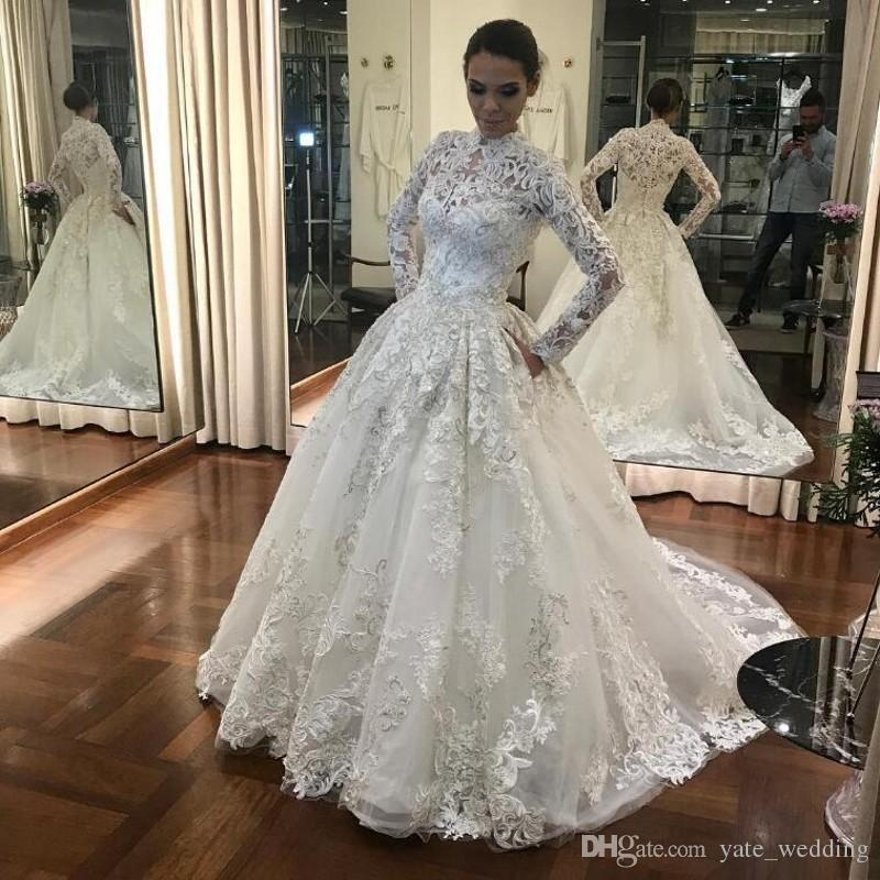 2019 elegant lace wedding dresses high neck