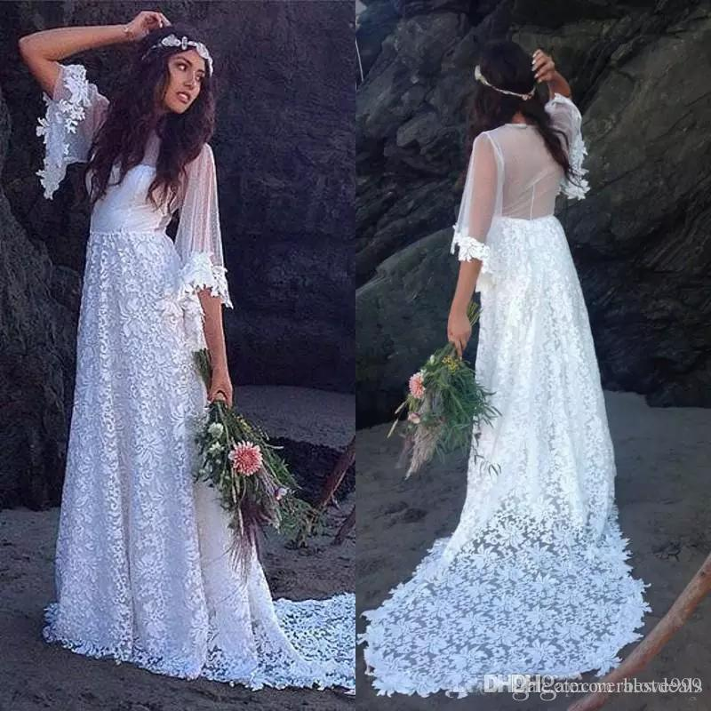 Wedding Gowns 2017 Luxury Vintage Bohemian Wedding Dresses 2017 A Line Sheer Back Bride Gowns Sweep Train Half Sleeves Elegant Bridal Gowns for Wedding Party