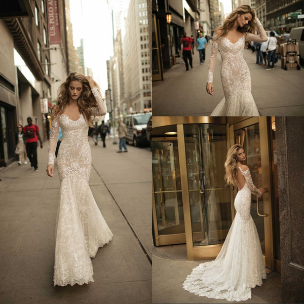 Wedding Gowns 2017 New 2017 Gorgeous Berta Mermaid Wedding Dresses Long Sleeves Sequins Full Lace Wedding Gowns Y Backless Bridal Gowns Vestidos De Noiva Wedding Dress