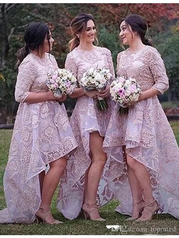 2017 full lace elegant bridesmaid dresses