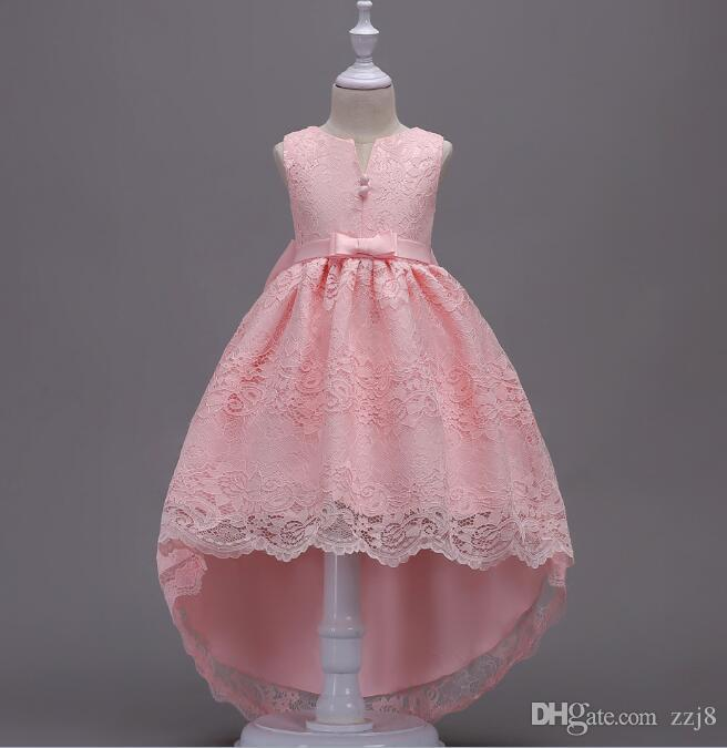 simple kids girls lace wedding dresses tail