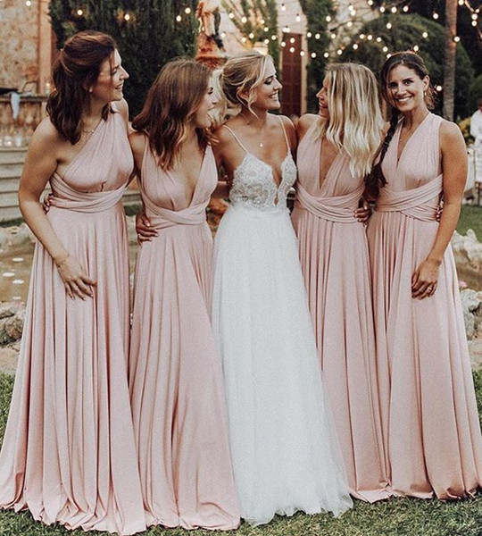 Where to Buy Wedding Guest Dresses Lovely 2019 Baby Pink Convertible Style Bridesmaid Dresses Pleats Floor Length Maid Honor Wedding Guest Gown formal evening Dresses Custom Made Bridesmaid