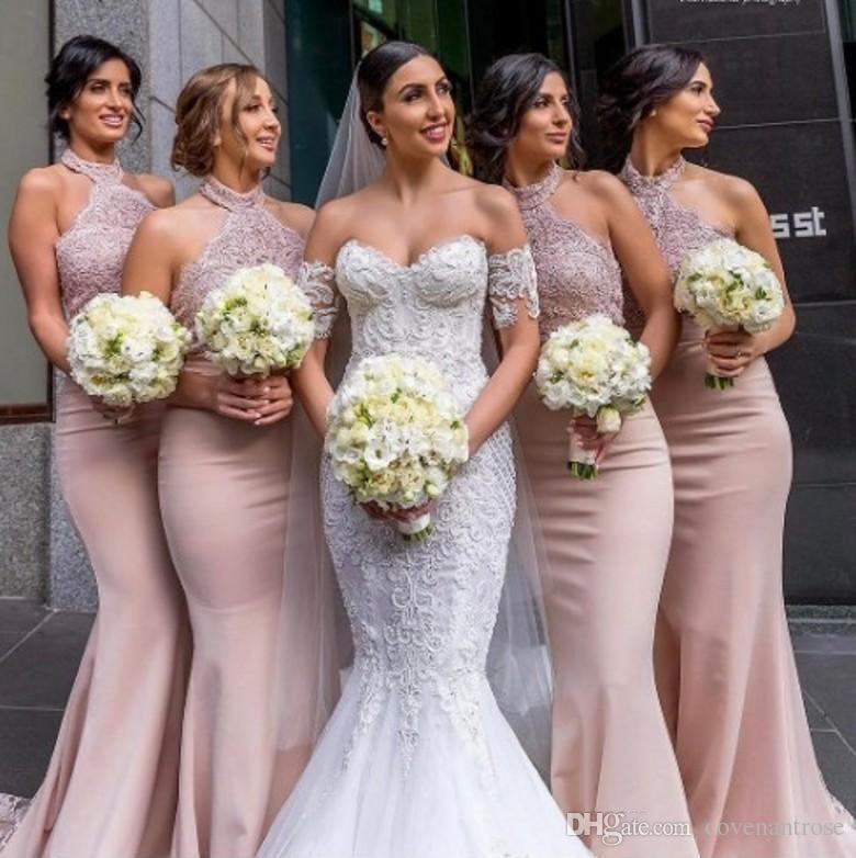 Where to Sell Bridesmaid Dresses New Hot Sale Dusty Pink Bridesmaid Dresses 2018 Elegant Halter Neck Appliqued Mermaid Long Maid Honor formal Wedding Guest Gowns evening Wear Black