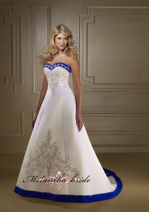 Elegant satin halter neckline embroidery royal blue and white wedding dresses