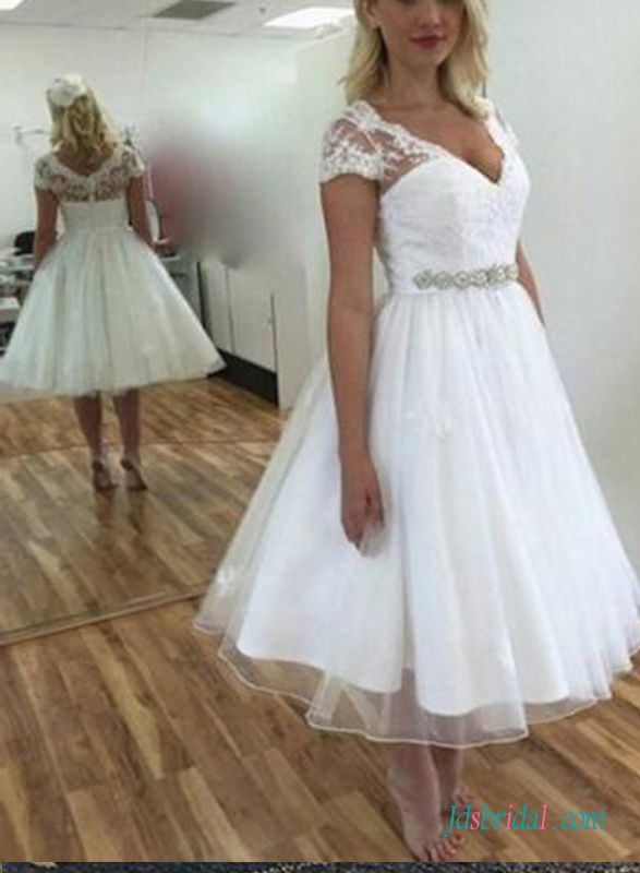 White Debutante Dresses Lovely Vintage Short Sleeved Tea Length White Weddingdress