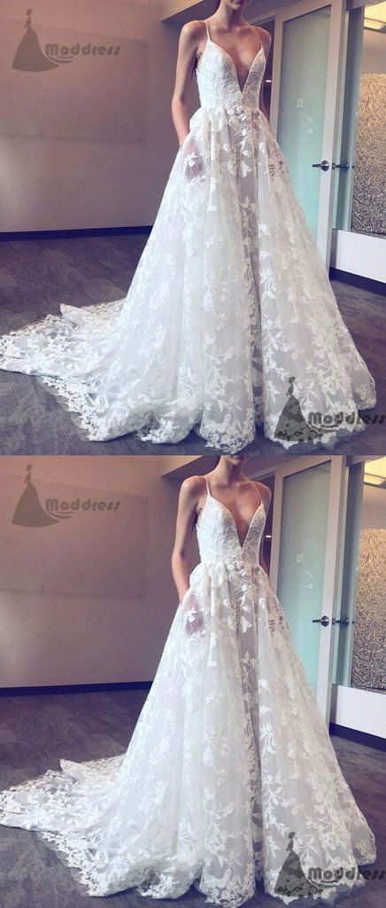 White Lace Wedding Dresses Lovely White Lace Wedding Dress V Neck A Line Long Prom Dress